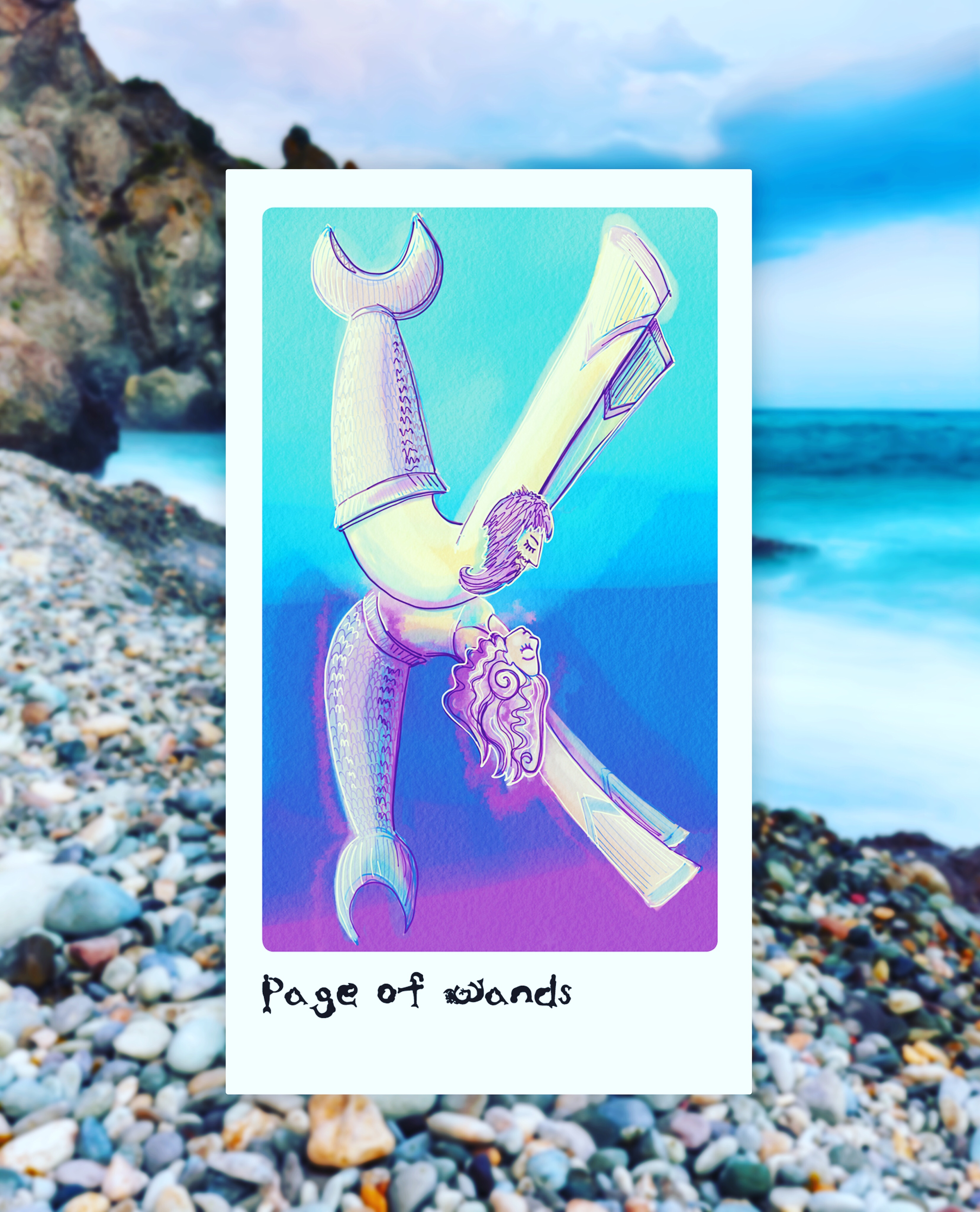 mermaid type tarot and party edition K, page of wands