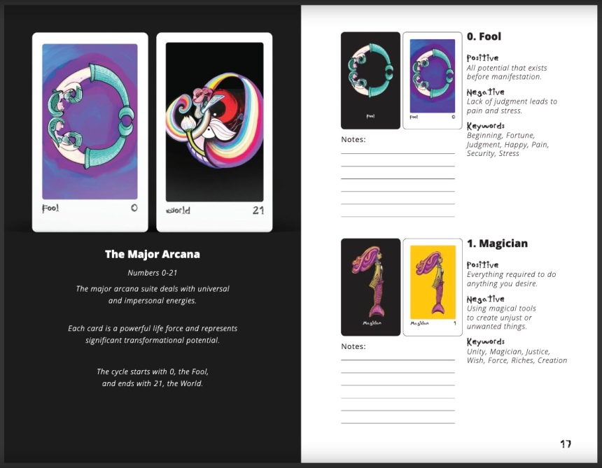 Pages 16 and 17 mermaid type tarot workbook