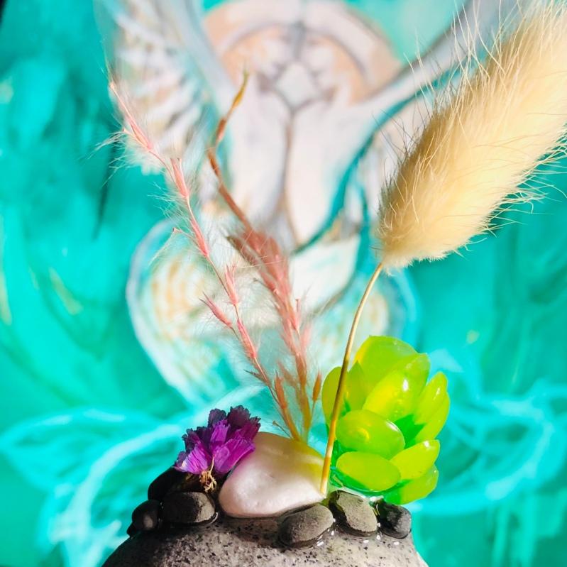 mermaid angel with succulent garden