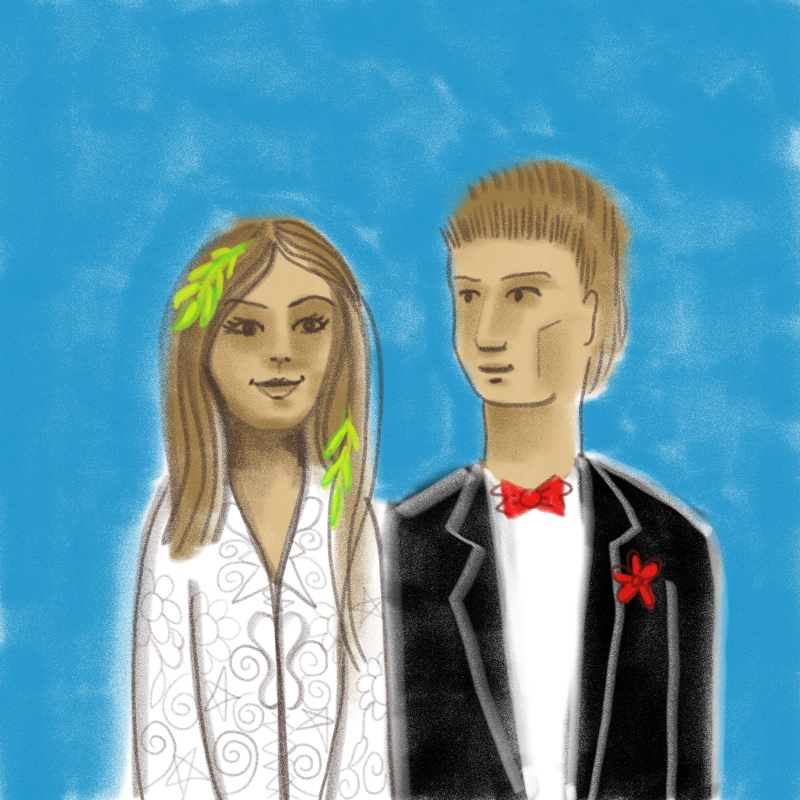 Happy Couple Digital Drawing Sacred Marriage.