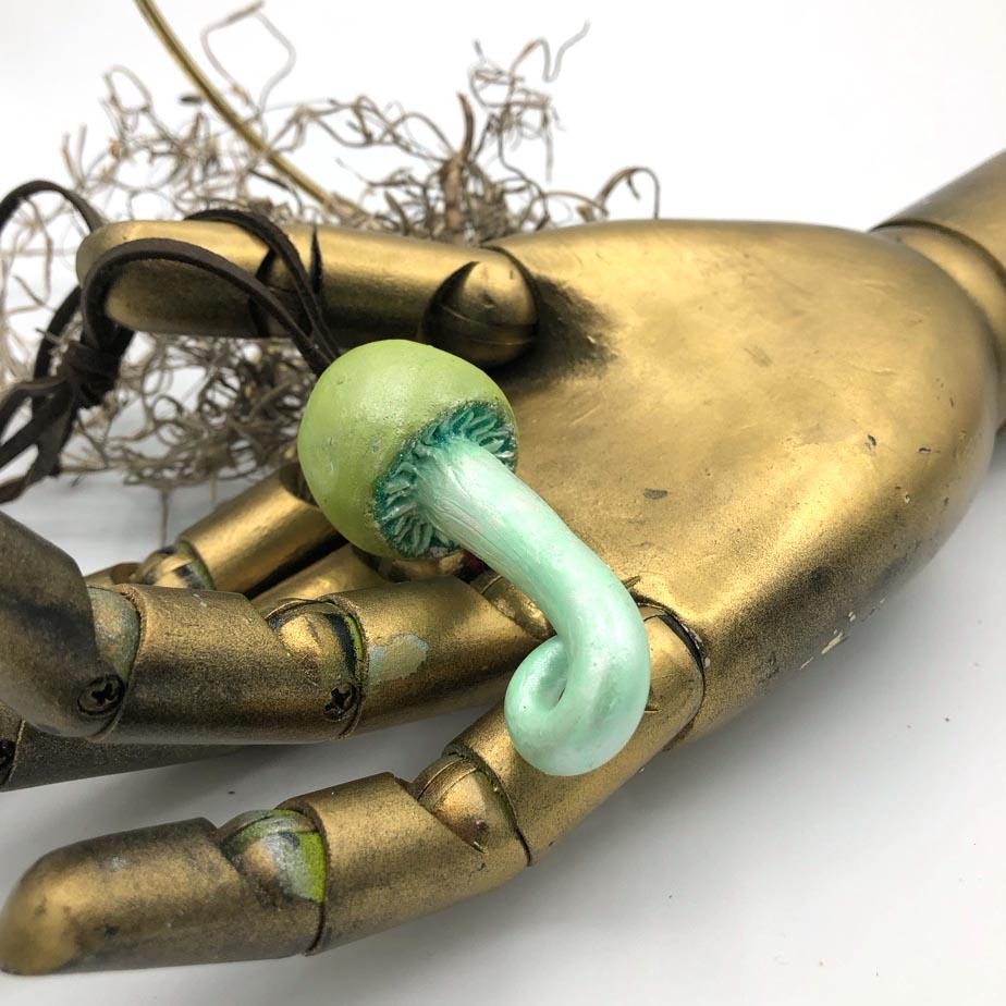 green mushroom pendant detail