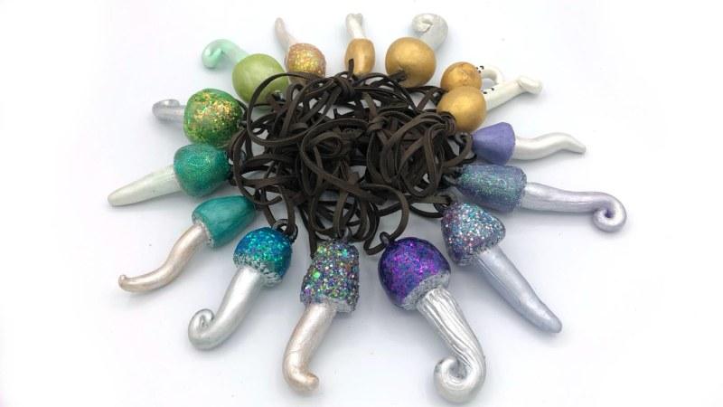 rainbow mushroom pendants