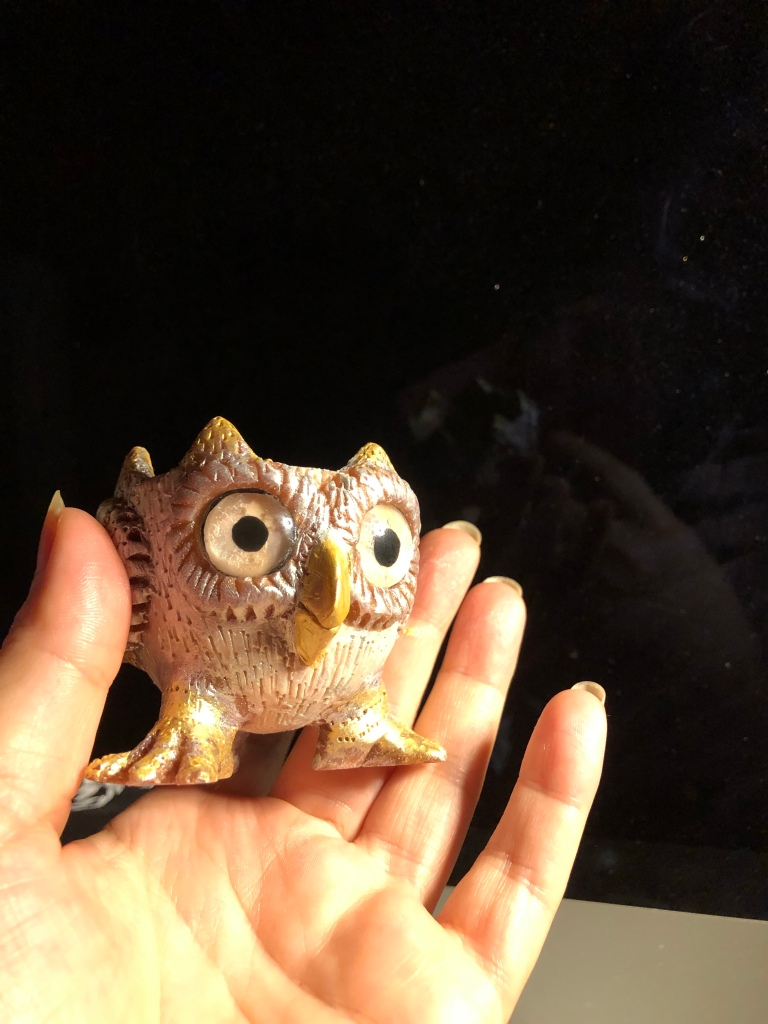 Owl decorative bowl 3 by Mitra Cline